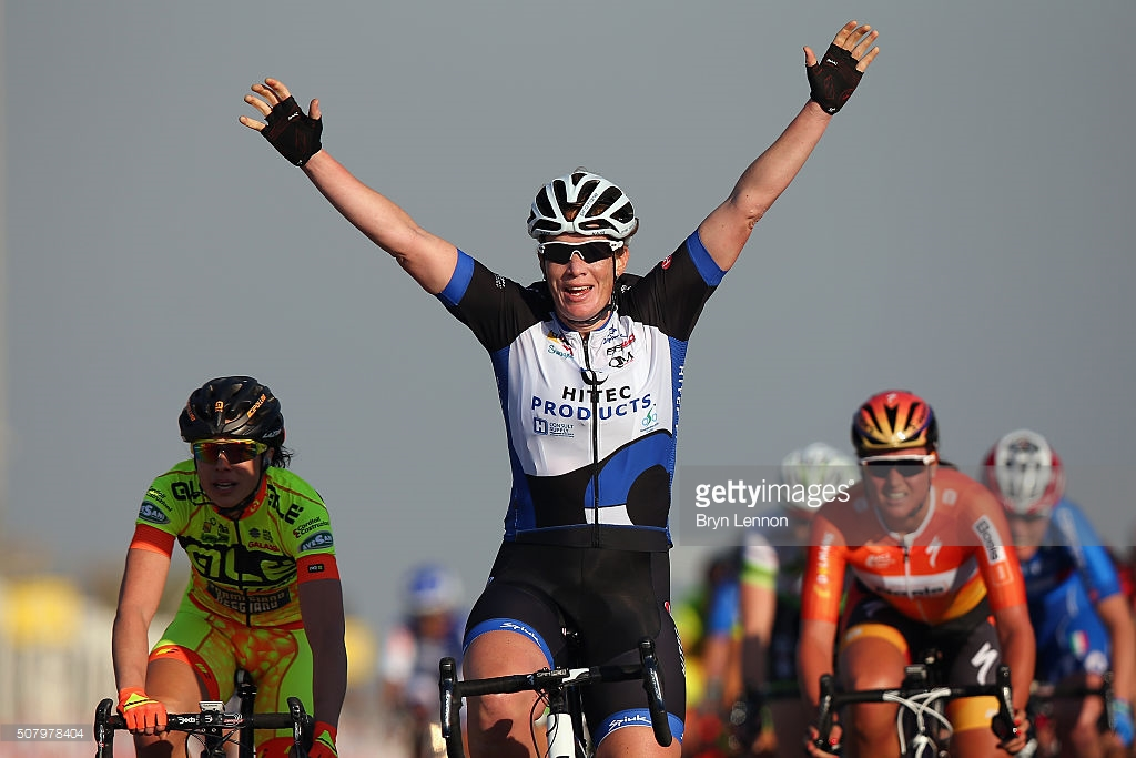 during stage one of the 2016 Ladies Tour of Qatar from Katara Cultural Village to Qatar University on February 2, 2016 in Doha, Qatar. The stage will also serve as the test event for Doha 2016 World Road Race Championships in October.
