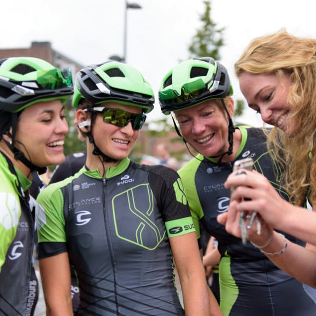 Cylance check out their selfie poses at Boels Rental Ladies Tour Stage 4 a 121.4 km road race from Gennep to Weert, Netherlands on September 1, 2017. (Photo by Sean Robinson/Velofocus)