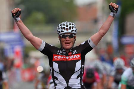 Kirsten Wild (Cervelo Test Team) wins 4th Prijs Stad Roeselare ahead of Chloe Hosking (HTC - Columbia Women) and Annemiek Van Vleuten (Nederland Bloeit)