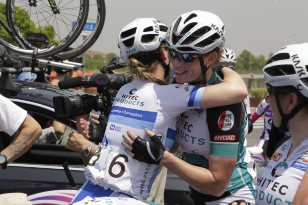 Chongbei - China  - wielrennen - cycling - radsport - cyclisme -   Wild Kirsten of Hitec Products hugs Kitchen Lauren of Hitec Products  pictured during  Tour of Chongming Island 2015 (2.1) stage-1 - photo Anton Vos/Cor Vos © 2015