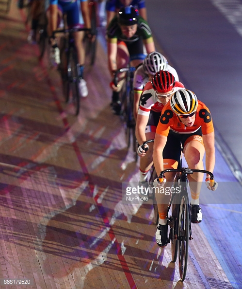 Kirsten Wild of Netherlands compete in the 10km Points Race during day four of the London Six Day Race at the Lee Valley Velopark Velodrome on October 27, 2017 in London, England. (Photo by Kieran Galvin/NurPhoto)