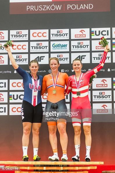 Winst in Worldcup omnium Pruszkow (vlnr Jennifer Valente (USA) - Kirsten - Amelie Dideriksten (Denemarken))